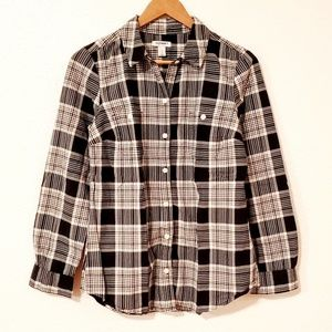 Old Navy Plaid Button Down Long Sleeves Shirt